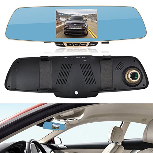 "BEST SHOPPER 4.3"" HD 1080P Car Dual Lens Rearview Anti-Glare Optical Mirror DVR Camera Dash Cam Recorder Monitor - Black"