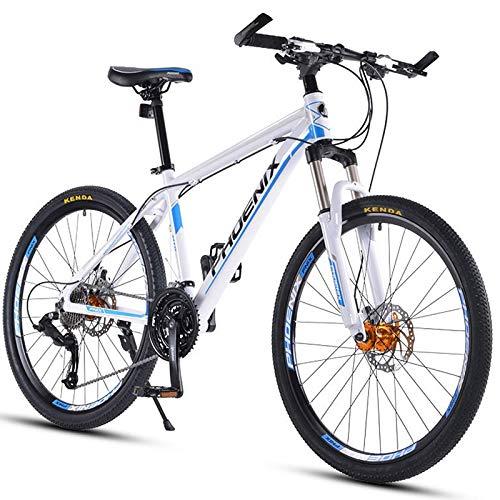 Mountain Bike per Adulti da 27,5' Mountain Bike da Fuoristrada a 30 velocità con Forcella Ammortizzata/Freno a Disco Olio Bicicletta da Montagna, Bici Hardtail in Lega di Alluminio, Bianca