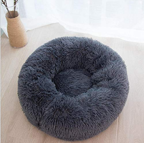 YESHUOYS Memory Foam, removable easy to clean - Pet nest round plush kennel dog warm winter supplies-black