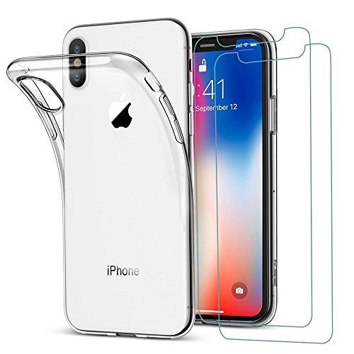iPhone XS Hülle, iPhone X Hülle + 2 Panzerglas set, iLiebe Transparent [Ultra Dünn] Klar Weiche TPU Schutzhülle für iPhone 10 Schutzfolie 5.8 Zoll Premium 9H, 5-Mal Verbesserte Gehärtetes Glas