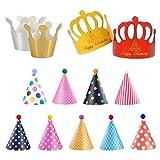 HONGECB Sombreros de Papel del Fiesta de Cumpleaños, Gorros Forma Cónica con Poms, Tapa de Corona de Varios Color y Tamaños Para Los Cabritos y Los Adultos, Favores de la Fiesta