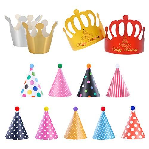 Divertenti Cappelli da Festa - 9 pezzi Cappelli per Feste di Compleanno Cappelli a Cono con pon pon, 2 pezzi Carta Cappelli Corona per Bambini, Cappelli da festa di compleanno per bambini e adulti