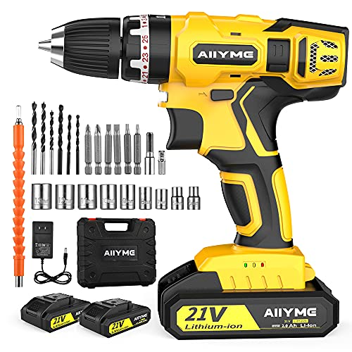 Cordless Drill, AIIYME 21V Impact Drill 706In-lbs Torque 25+3 Clutch 2 Batteries 0-3000RPM Variable Speed Electric Drill Driver Kit, 3/8' Keyless Chuck LED Power Drill Set for Drilling Wall Wood Metal