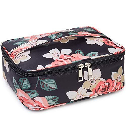 Travel Makeup Bag Large Cosmetic Bag Make up Case Organizer for Women and Girls (Black Peony)