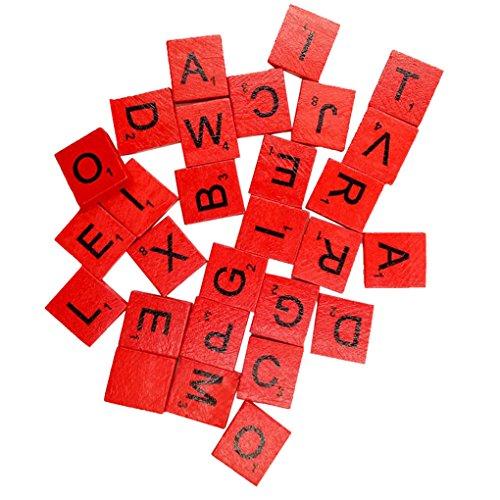 Sukisuki 100 piezas de madera Scrabble azulejos negros letras números para manualidades alfabeto de madera (rojo)