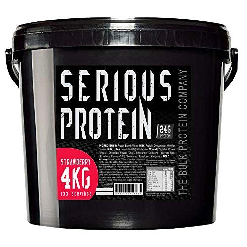 The Bulk Protein Company - SERIOUS Protein 4kg - Low Carb Lean Protein Powder 24g Per Serving - Strawberry Flavour