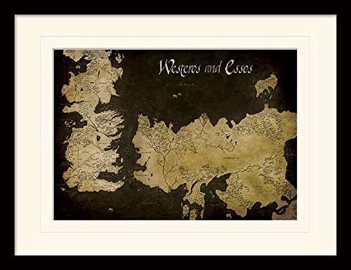 Piramid International Game of Thrones (Westeros and Essos Antique Map) 30x40 cm gemonteerd en ingelijst, Mounted 250GSM PAPERWRAP MDF, meerkleurig, 44 x 33 x 4 cm