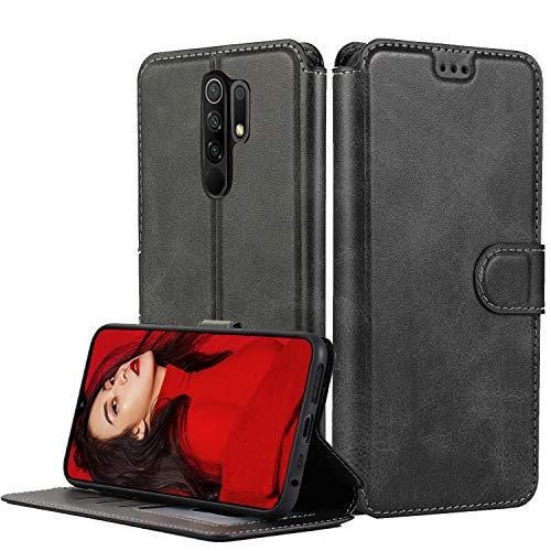LeYi Hülle für Xiaomi Redmi 9 Mit HD Folie Schutzfolie,Leder Handyhülle Stoßfest Wallet Etui Magnet Schutzhülle Tasche Slim Silikon Soft Grip Cover Bumper TPU Hülle für Handy Redmi 9 Matt Schwarz