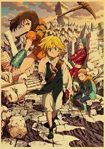 YF'PrintArt Impresiones En Lienzo Anime Art Retro Poster Comic The Seven Deadly Sins Posters Impresiones Decoración De La Habitación del Hogar Sin Marco 50X70Cm -(A765)