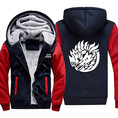XING GUANG Herren Kapuzenpullover Game Monster Hunter Sweater Plus Dicker Samt Pullover Mit Kapuze Jacken Reißverschluss Sweatshirts Warme Tops C-5X-Large