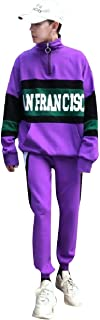 Howme-Men Back Cotton Two Piece Hit Color Sports Pullover Tracksuit