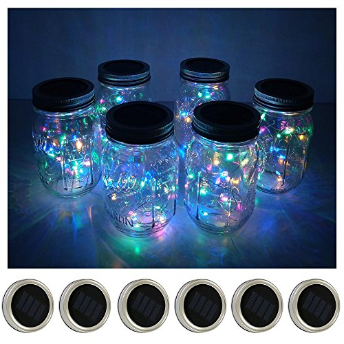 6 Pack Mason Jar Lights 10 LED Solar Colorful (4 Colors) Fairy String Lights Lids Insert for Patio Yard Garden Party Wedding Christmas Decorative Lighting Fit for Regular Mouth Jars(Jars Not Included)