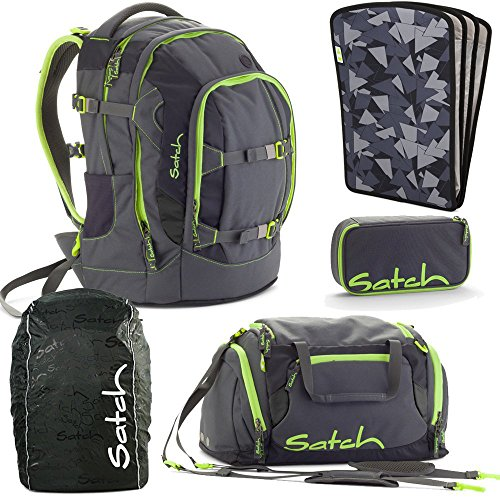 satch by Ergobag Phantom 5-teiliges Set Rucksack, Sporttasche, Schlamperbox, Regenhaube Schwarz & Heftebox Schwarz