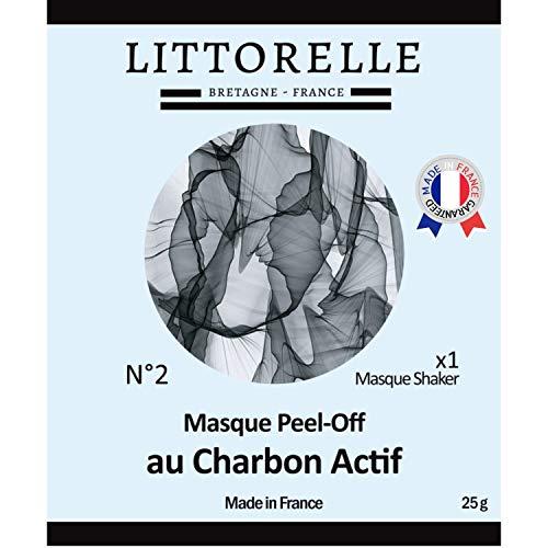 Littorelle – Masque Shaker N°2 Peel-Off au Charbon Actif – Made in France – Masque Exfoliant Visage Anti-Pollution – Masque Nettoyant Visage Peau Lisse et Purifiée