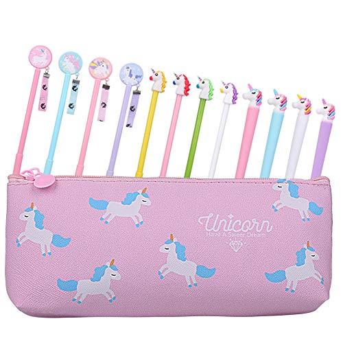 Rubywoo&chili - Juego de 12 lápices de unicornio y estuche para niñas, regalo de cumpleaños