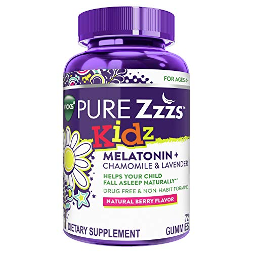 Vicks Pure Zzzs Kidz, Melatonin Sleep Aid Gummies for Kids and Children, Lavender, Valerian Root and Chamomile, Natural Berry Flavor, 72 Gummies