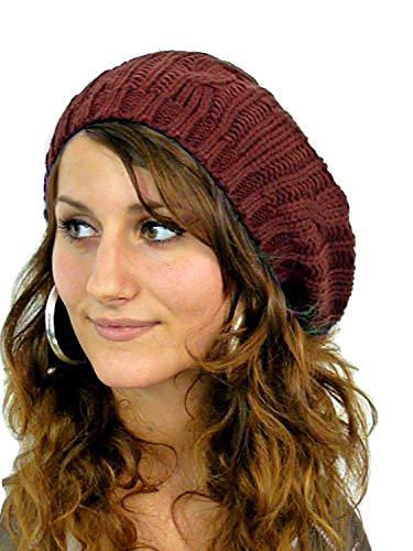 Muetzen Barett Bonnet en laine chaud pour femme Marron