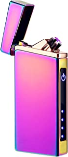 Electric Arc Lighter USB Rechargeable Lighter Windproof Flameless Lighter Plasma Electronic Lighter with LED Power Display (Rainbow)