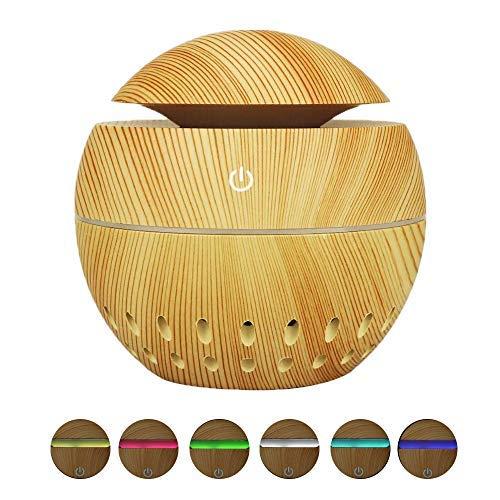 Zeerkeer Wood Grain Difusores de aceites esenciales Humidificador ultrasónico portátil Difusores de aromaterapia con 7 luces LED de colores, puerto USB, para el hogar, yoga (grano de madera claro)