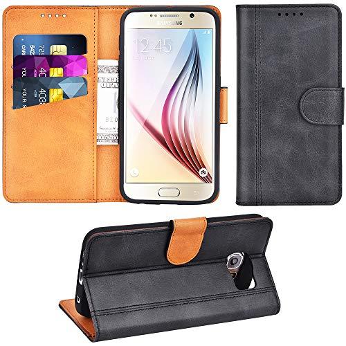 Adicase Galaxy S6 Hülle Leder Wallet Tasche Flip Hülle Handyhülle Schutzhülle für Samsung Galaxy S6 (Dunkelgrau)