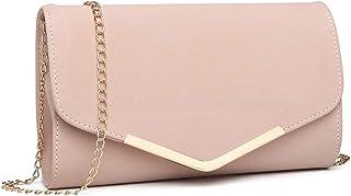 Miss Lulu Elegante Kettentasche Damen Tasche Clutch Bag Handtasche Hochzeit Abendtasche Umhängetasche Mädchen (LH1756 Pink)
