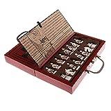 MooKe Plegable de Madera Tarjeta Juego de ajedrez, Creativa China de Terracota Guerrero-Temática Junta y el Caso de ajedrez de la Vendimia, fácil de Llevar, de Gran Detalle para los niños