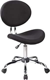 IFCO DECO AOC-1011-BK Office Supplies Bar Stools Fabric 360 Degree Swivel Chair Without Arms (Black)