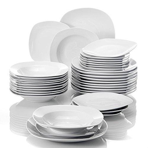 MALACASA, Série Elisa, 36 Pcs Service de Table Porcelaine, 6 * [Assiettes Plates], [Assiettes à Dessert], [Assiettes Creuse], Vaisselles à Dinner pour 12 Personnes