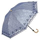リーベン 日傘 uvカット 遮光 折傘 シルバーレース ひんやり傘 折りたたみ 【LIEBEN-0546】 紫外線カット率・遮光率99%以上 (ネイビー)