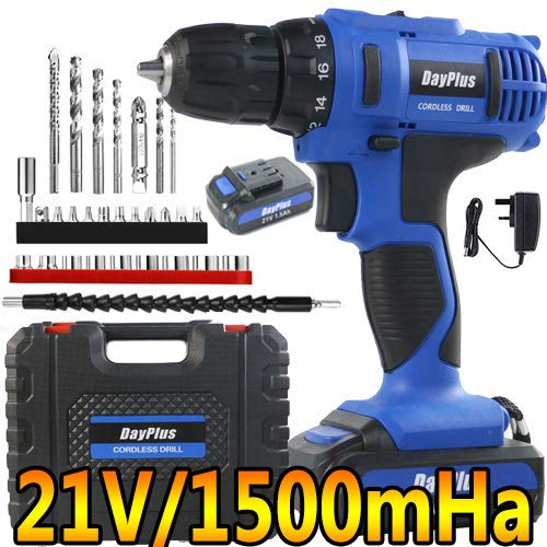 Cordless Drill Driver,21V 45Nm Compact Electric Drill Cordless Set, 2 x Batteries 3000mAh, 18+1 Torque Setting,2-Speed Trigger Built-in LED,0.8-10mm Chuck,1.5h Fast Charger/Carrying Case