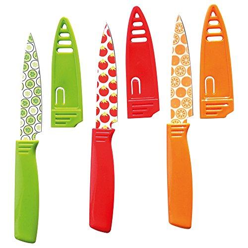 Küchenmesser Obstmesser Gemüsemesser Allzweckmesser Schälmesser mit Fruchtmotiven, 3 Stück, inklusive Schutzhüllen, Edelstahl/Kunststoff, Klingenlänge je ca. 9.5 cm, farbig