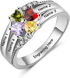Personalized Mothers Rings with 4 Children Simulated Birthstones Family Rings for Women Promise...