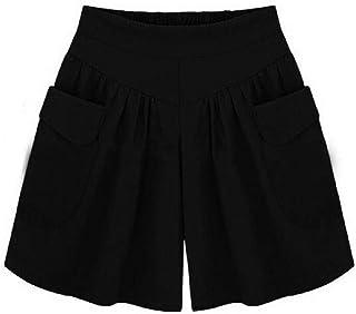 Andopa Women's Plus Size Bermuda Shorts Pocket Elastic Wide Leg Linen Shorts