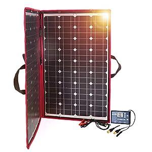 Dokio – Kit de panel solar plegable, ligero, monocristalino con control solar, 2 salidas USB, 100 W, 12V, para caravana o barco (portátil)