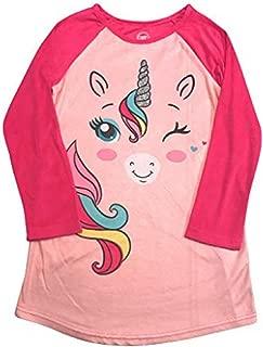 Long Sleeved Fleece Girls Nightgown Pajamas with Panda, Unicorn, and More Styles (X-Large (14/16), Pink Unicorn)