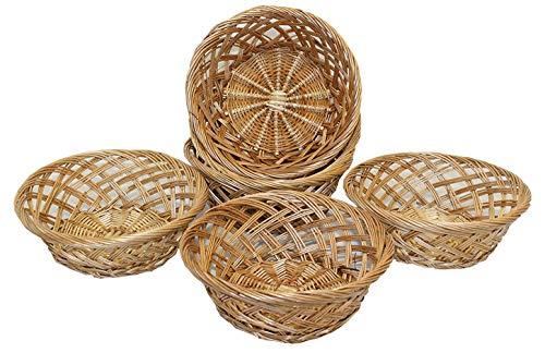Home-ever Set Of 6 Round Willow Wicker Bread Basket Storage Trays (20X20X8) HE40