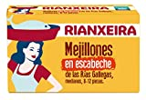 RIANXEIRA. Pack de 8 latas x 111g. de Mejillones en escabeche Medianos. Mejillones de las Rías Gallegas en Aceite de Oliva. D.O.P. Presentación 8 -12 piezas.
