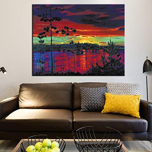 SADHAF beroemde schemering landschapsschilderij reproductie wandkunst canvasdruk in canvasdruk woonkamer slaapkamer decoratie 40x50cm (kein Rahmen) A2