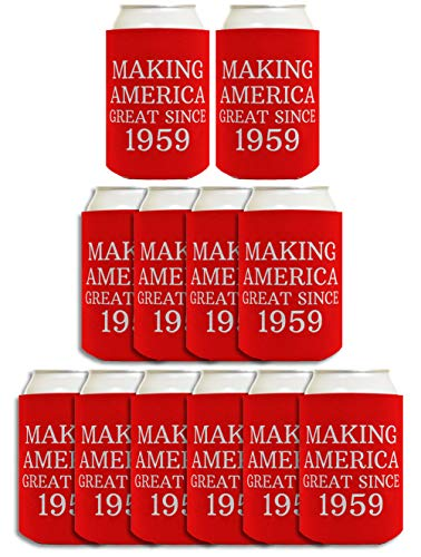 60th Birthday Gifts for All Making America Great Since 1960 12-pack Can Coolie Drink Coolers Coolies Red