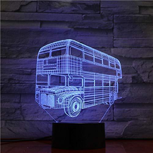 3D Ilusión óptica Lámpara LED Lámpara de luz nocturna Double-decker buses are thrown into the spring season lámpara de escritorio creativa para cumpleaños Con carga USB, control táctil de cambio