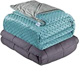 Quility Weighted Blanket for Adults - Queen Size, 60'x80', 20 lbs - Heavy Heating Blankets for Restlessness - Grey, Tide Cover