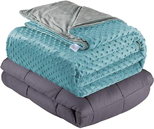 "Quility Weighted Blanket for Kids or Adults - Heavy Heating Blankets for Restlessness (36""x48"", 5 lbs.), Grey, Tide Cover"