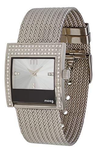 Moog Paris Champs Elysées Damen Uhr mit Silbernem Zifferblatt, Swarovski Elements & Silbernem Armband aus Edelstahl - M44794-004