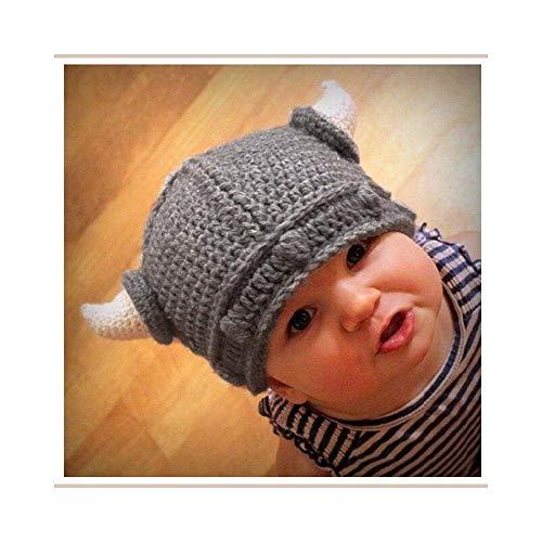 Uteruik Häkelmütze für Neugeborene, handgefertigt, Wikingerhörner, Strickmütze