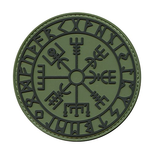 2AFTER1 Olive Drab OD Green Vegvisir Viking Compass Norse Rune Morale Tactical PVC Rubber Hook-and-Loop Patch