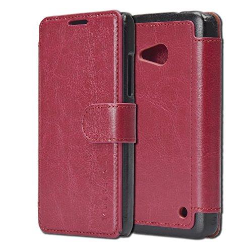 Mulbess Flip Layered Dandy Handyhülle für Lumia 550 Hülle Leder, Lumia 550 Schutzhülle, Lumia 550 Klapphülle, Handytasche für Lumia 550 Tasche, Wein Rot