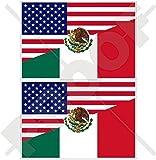 USA Vereinigte Staaten von Amerika und MEXIKO, Amerikanisch und Mexikanische Flagge, Fahne 75mm Auto & Motorrad Aufkleber, x2 Vinyl Stickers