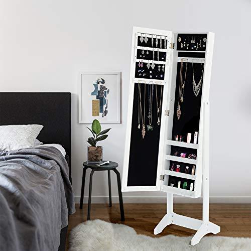 HOMEMAKE FURNITURE Organizador de joyas, gabinete de armario de joyas Joyero de pie con espejo de cuerpo completo y gran gabinete de madera con cerradura de almacenamiento