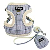 Didog Soft/Cosy Dog Vest Harness and Leash Set with Cute Bags,Escape Proof Breathable Mesh Dog Harness,Classic Plaid/Back Openable,Fit Walking Small Dogs, Cats