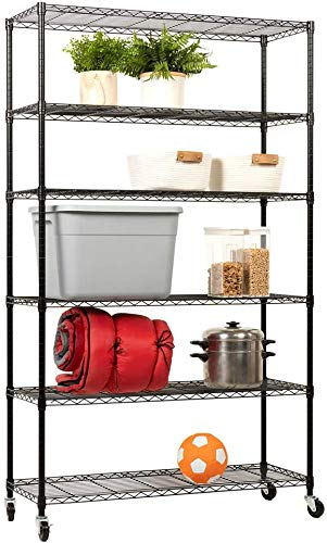 "Storage Shelves 2100Lbs Capacity, 6-Shelf on Casters 48"" L×18"" W×82"" H Wire Shelving Unit Adjustable Layer Metal Rack Strong Steel for Restaurant Garage Pantry Kitchen,Black"